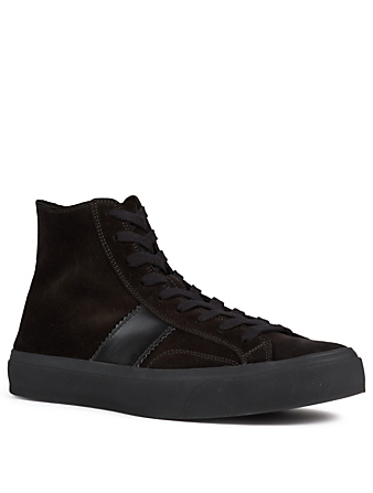 TOM FORD Baskets Cambridge Crosta en suède Hommes Noir