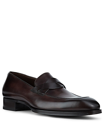 TOM FORD Twist Band Leather Loafers Men's Brown