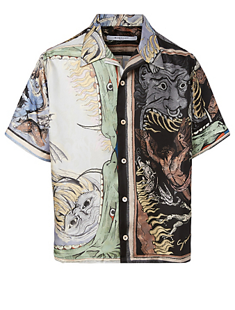 GIVENCHY Silk Short-Sleeve Shirt In Icarus Print Men's Multi