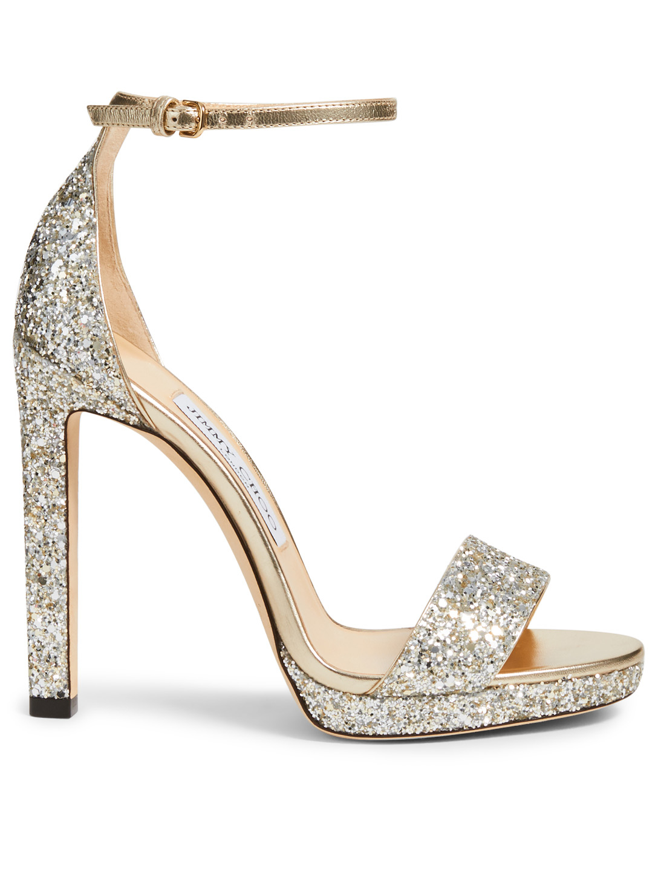 5f524af997dd JIMMY CHOO Misty 120 Glitter Platform Sandals Women s Neutral ...