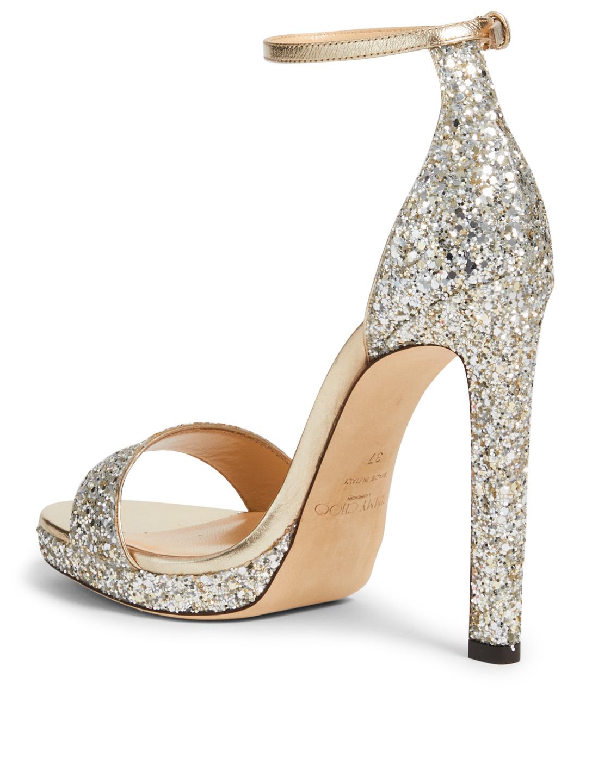 353cb118074 ... JIMMY CHOO Misty 120 Glitter Platform Sandals Women s Neutral ...