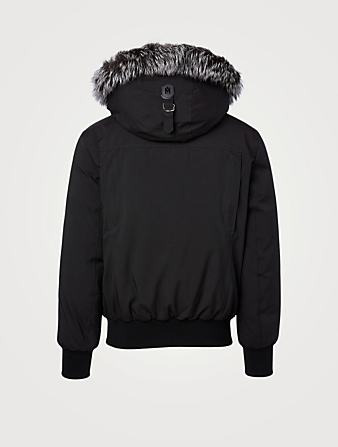 MACKAGE Dixon Down Bomber Jacket With Silverfox Fur Hood Men's Black