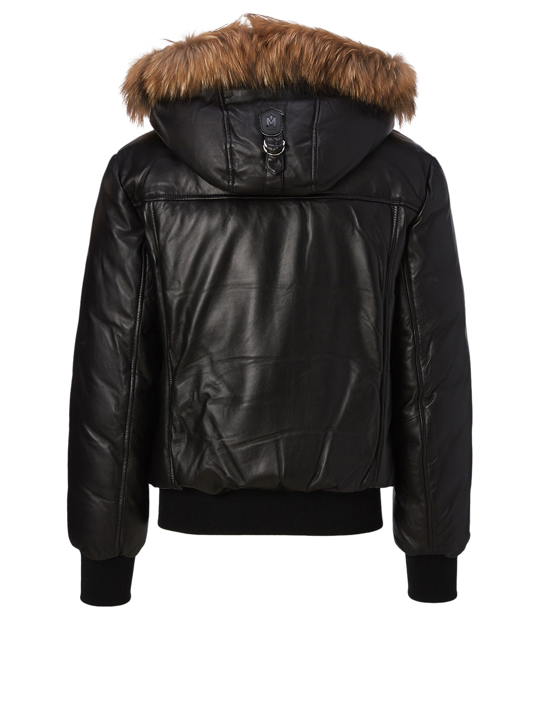 MACKAGE Glen Leather Down Bomber Jacket with Fur Hood Men's Black