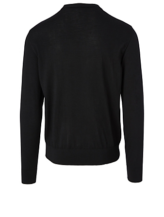 DOLCE & GABBANA Wool Sweater With Logo Patch Men's Black