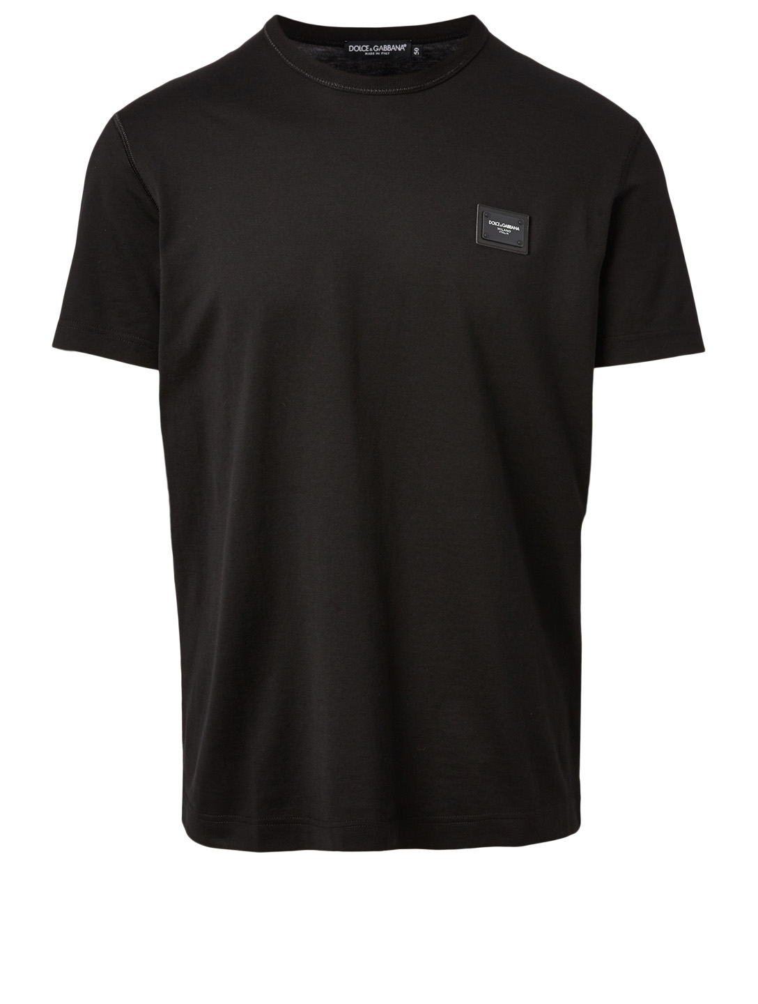 DOLCE & GABBANA Cotton T-Shirt With Logo Patch Men's Black