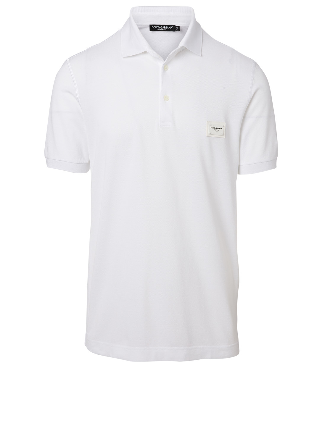 DOLCE & GABBANA Cotton Logo Patch Polo Men's White