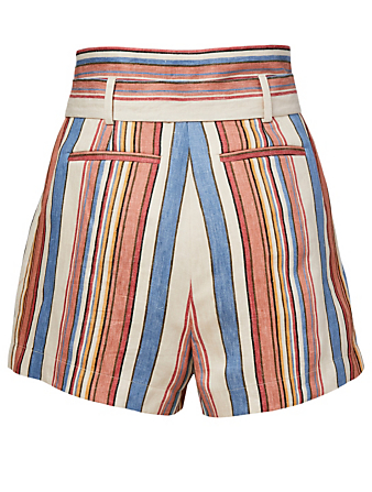 FRAME Tie Up Linen Shorts Women's Multi