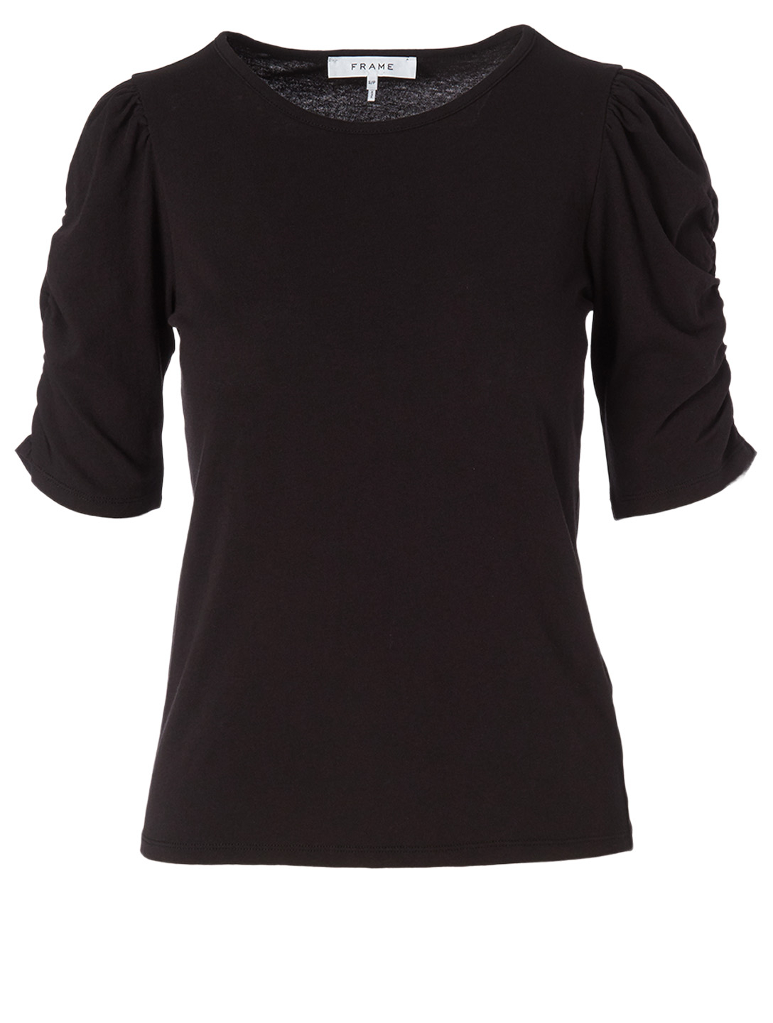 FRAME Cotton Gathered-Sleeve Top Women's Black