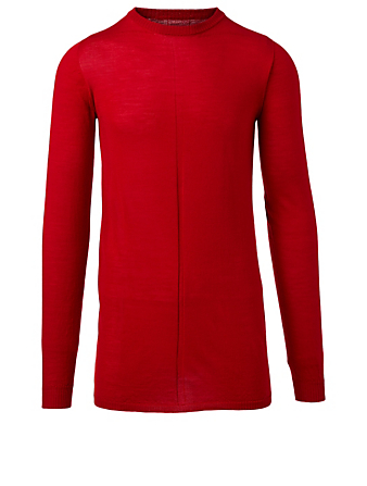 RICK OWENS Biker Level Wool Sweater Men's Red