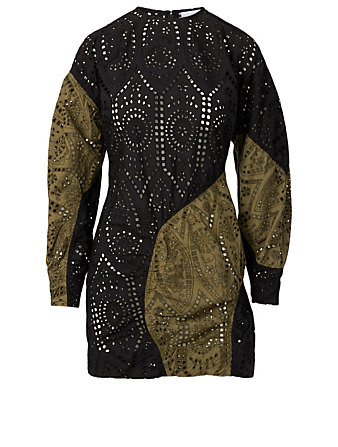 GANNI Broderie Anglaise Cotton Mini Dress Women's Black