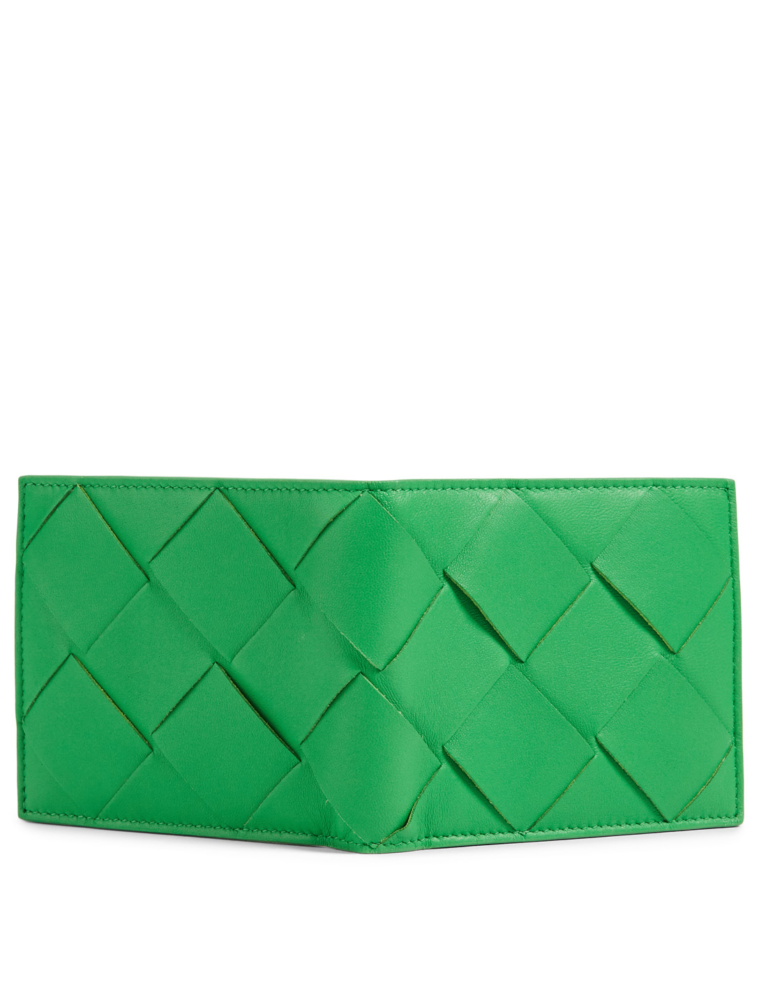 BOTTEGA VENETA Intrecciato Leather Bifold Wallet Men's Green