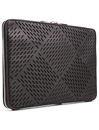BOTTEGA VENETA Perforated Leather Portfolio Men's Black