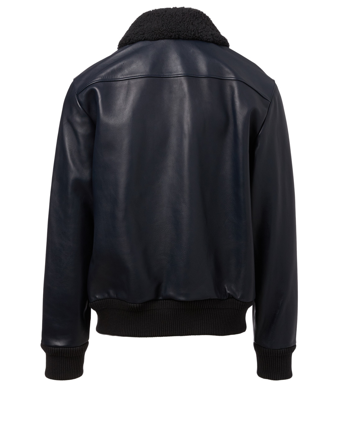ACNE STUDIOS Leather Aviator Jacket With Shearling Collar Men's Blue