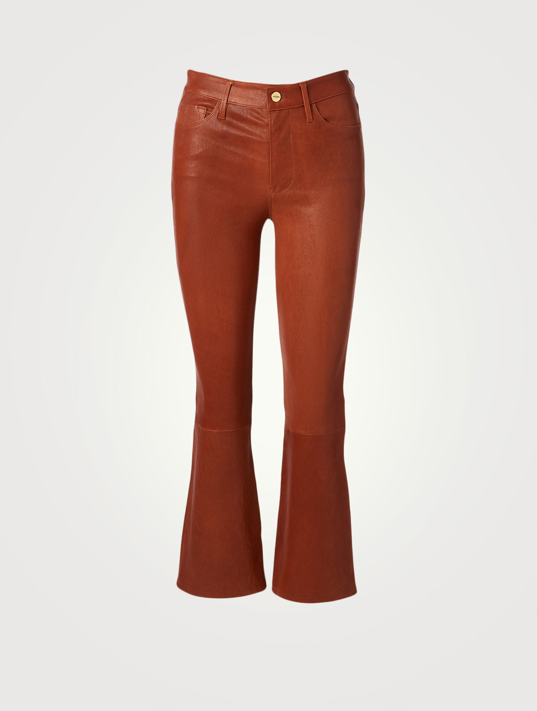 FRAME Le Crop Mini Bootcut Leather Pants Women's Brown