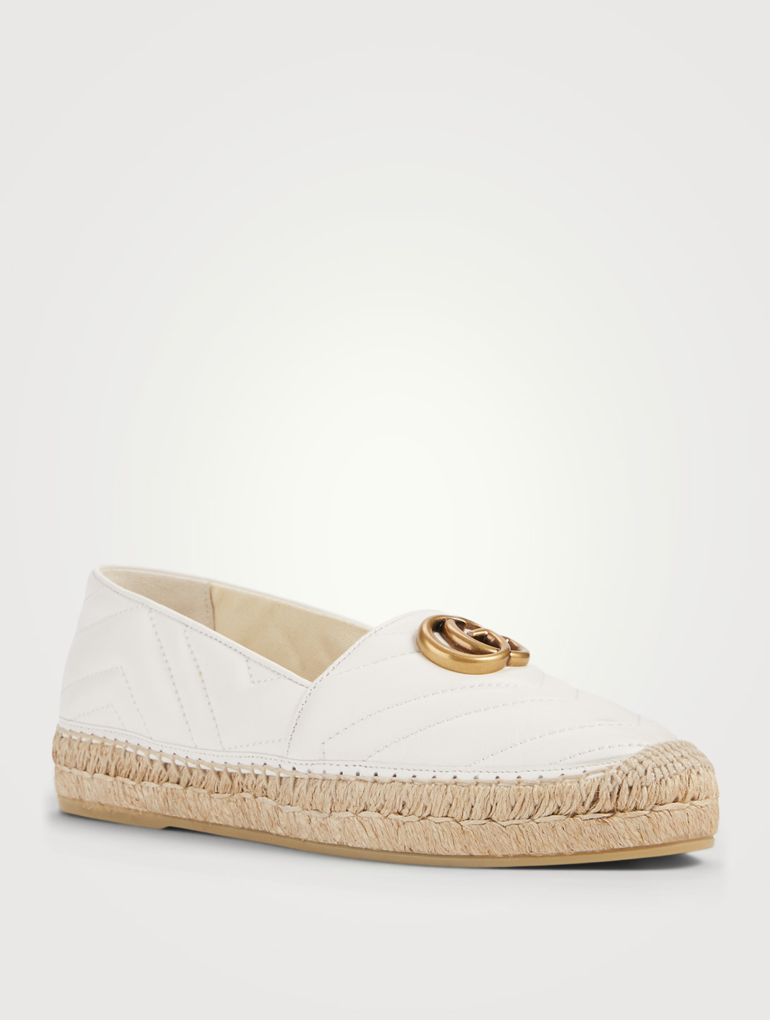 GUCCI Matelassé Chevron Leather Espadrille Flats With Double G Women's White