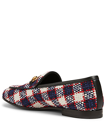 GUCCI Jordaan Check Tweed Loafers Women's Multi