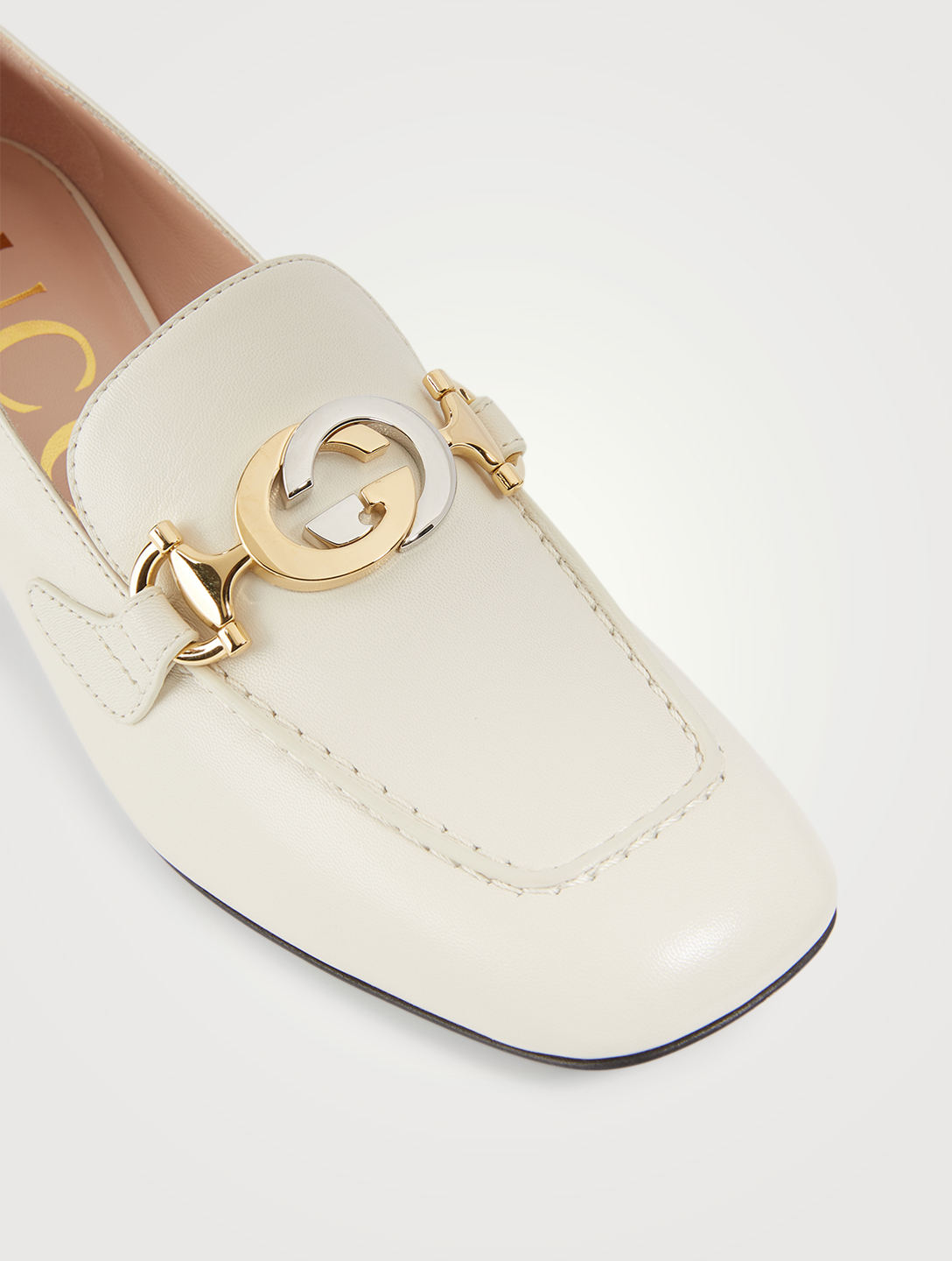GUCCI Zumi Leather Heeled Loafers Women's White