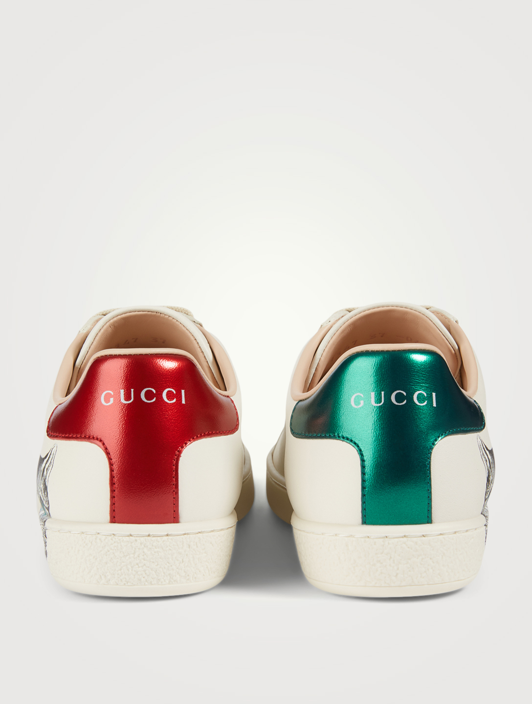 GUCCI Ace Leather Sneakers With Mystic Cat Print Women's White