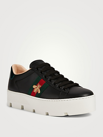 GUCCI Ace Leather Platform Sneakers With Embroidered Bee Women's Black