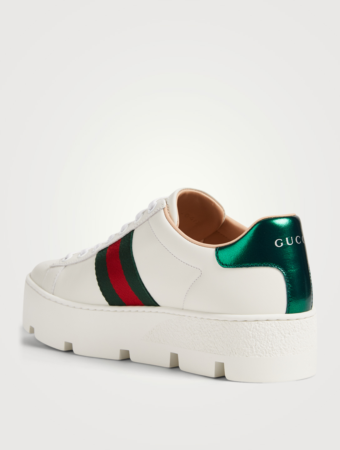 GUCCI Ace Leather Platform Sneakers With Embroidered Bee Women's White