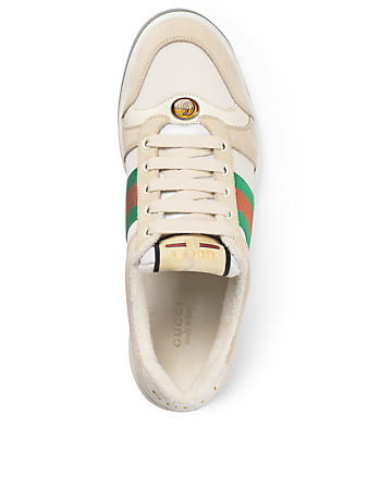GUCCI Screener Nylon And Leather Sneakers Women's White
