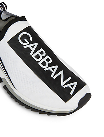 DOLCE & GABBANA Sorrento Stretch Jersey Logo Sneakers Women's White