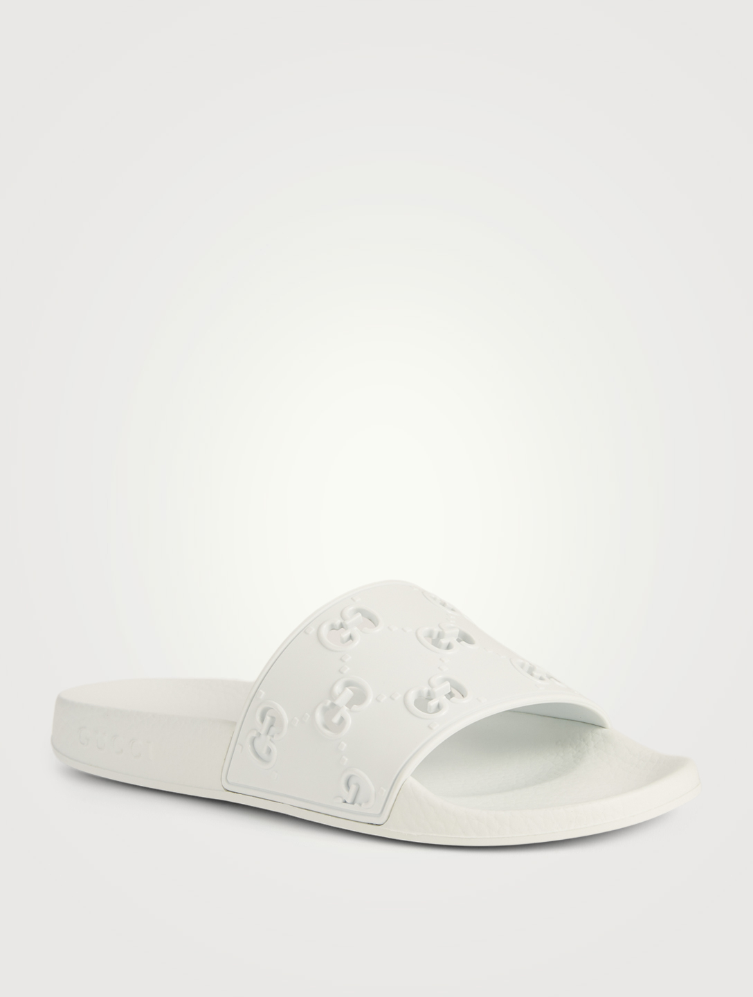 e55e56b02 ... GUCCI Pursuit GG Rubber Slide Sandals Women's White ...