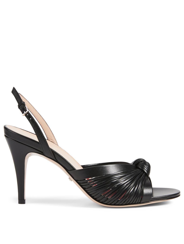 562141083 GUCCI Crawford Leather Slingback Heeled Sandals Women's Black ...