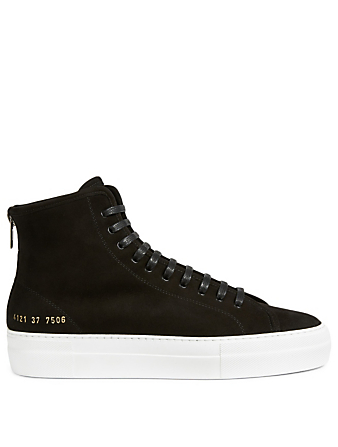 COMMON PROJECTS Tournament Suede High-Top Sneakers With Shearling Lining Women's Black