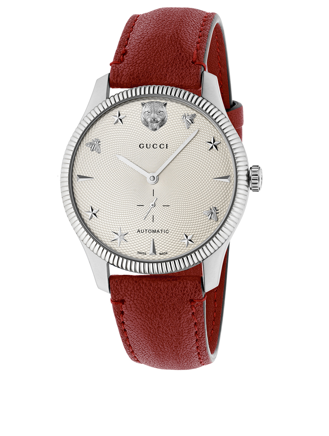 GUCCI G-Timeless Leather Strap Watch Women's Metallic