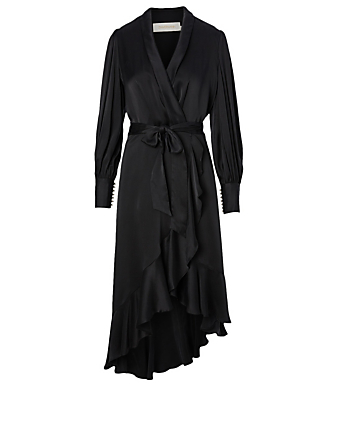 ZIMMERMANN Espionage Silk Wrap Midi Dress Women's Black