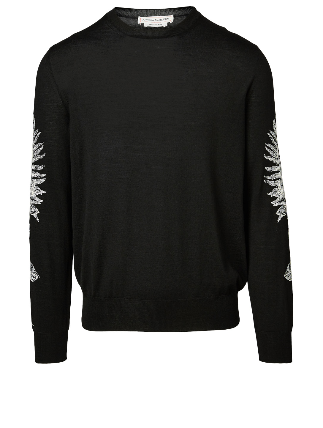 ALEXANDER MCQUEEN Wool Crewneck Sweater With Fern Embroidery Men's Black