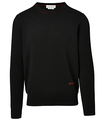 ALEXANDER MCQUEEN Wool Long-Sleeve Sweater With AMQ Embroidery Men's Black