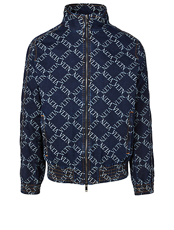 VALENTINO Zip Denim Jacket In VLTN Print Men's Blue