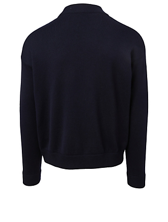 VALENTINO Wool Mockneck Sweater With V-Logo Men's Blue
