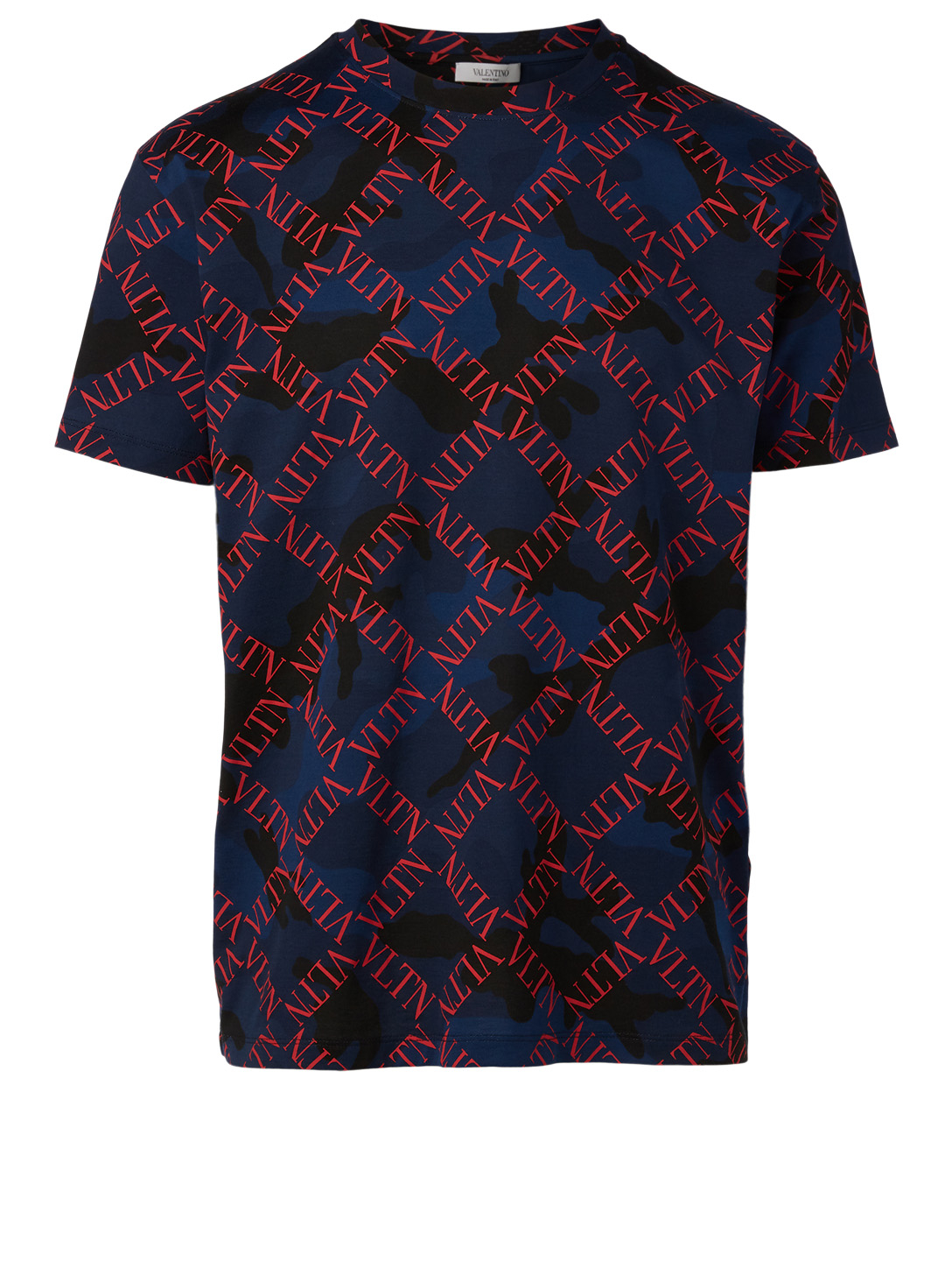 VALENTINO Cotton T-Shirt In VLTN Print Men's Blue