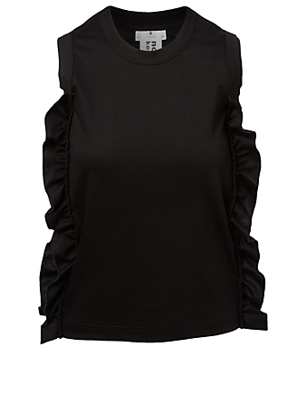 NOIR KEI NINOMIYA Sleeveless Ruffle T-Shirt Women's Black