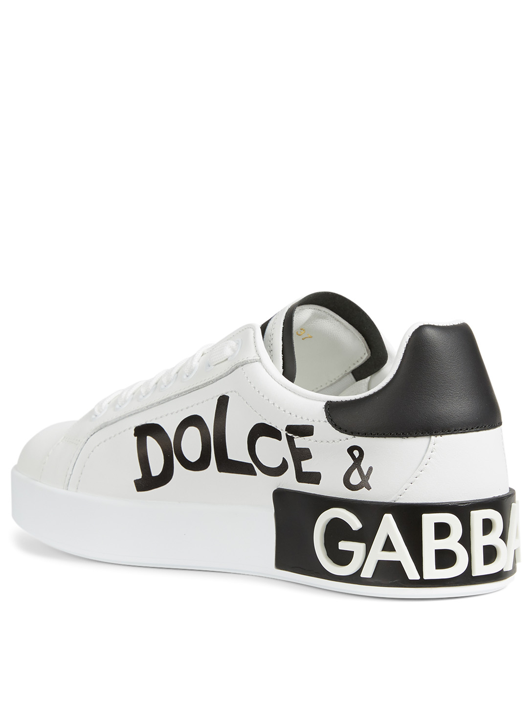 DOLCE & GABBANA Portofino Leather Sneakers With Stars Women's White