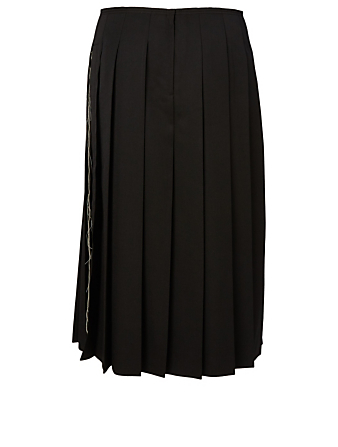 COMME DES GARÇONS Pleated Skirt With Frayed Detail Women's Black