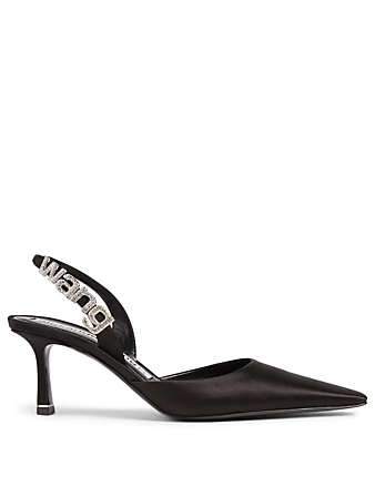 ALEXANDER WANG Grace Satin Slingback Pumps With Crystal Logo Women's Black