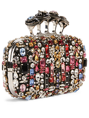 ALEXANDER MCQUEEN Leather Four-Ring Box Clutch Bag With Crystals Women's Black