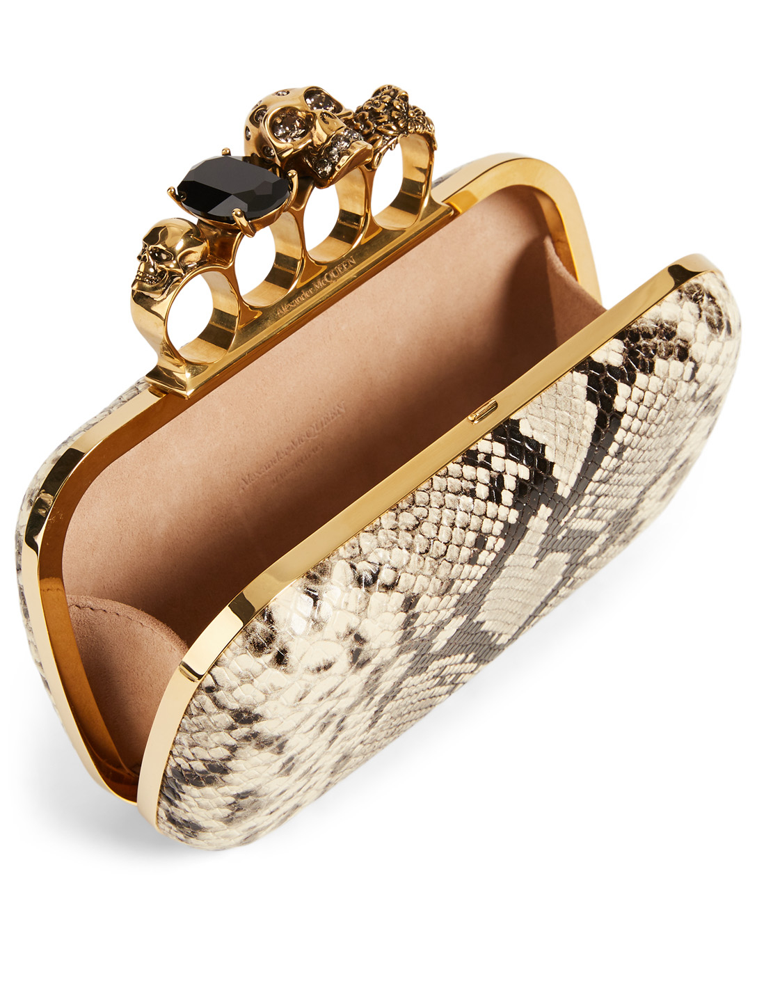 ALEXANDER MCQUEEN Leather Four-Ring Box Clutch Bag In Snake Print With Crystals Women's Neutral