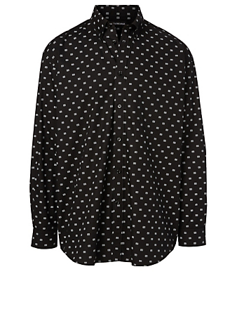 BALENCIAGA Cotton Shirt In BB Logo Print Men's Black