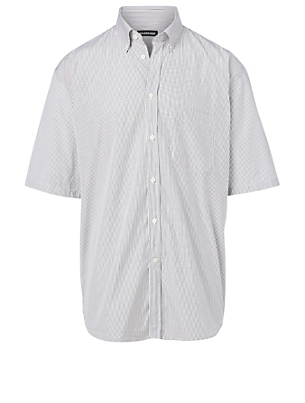 BALENCIAGA Cotton Short-Sleeve Shirt In Stripe Print Men's White