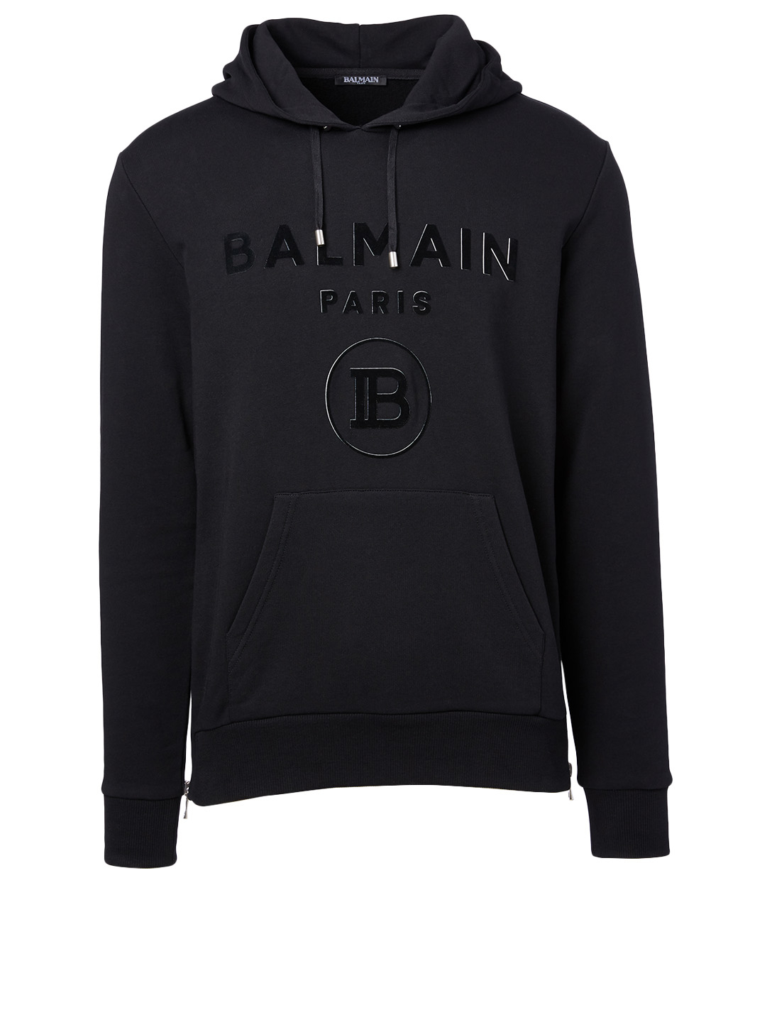 BALMAIN Cotton Logo Hoodie Men's Black