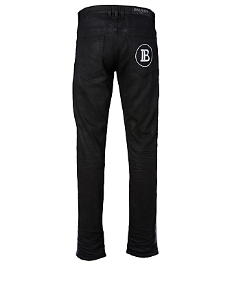 BALMAIN Cotton Stretch Spray Jeans Men's Black