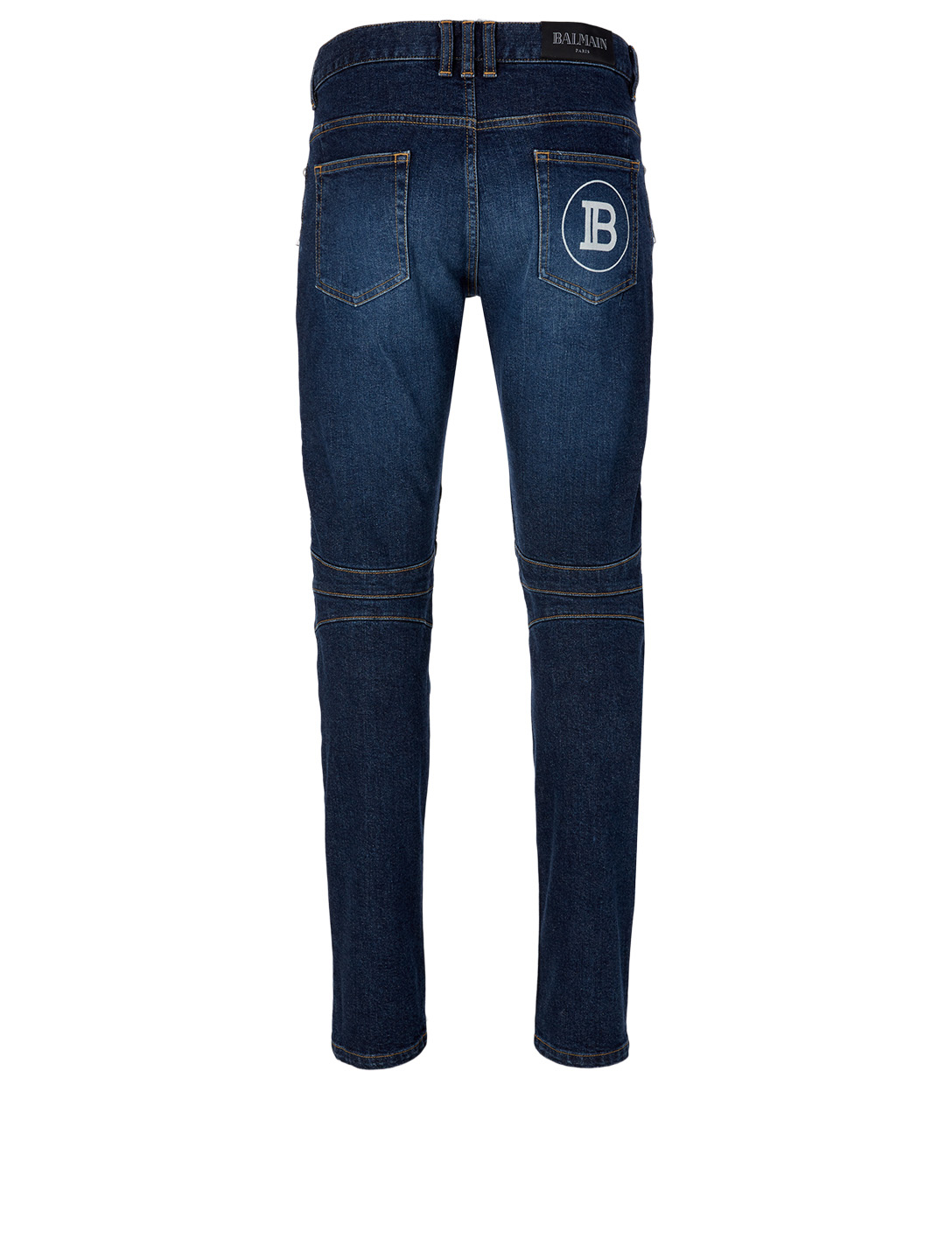 BALMAIN Tapered Moto Jeans Men's Blue