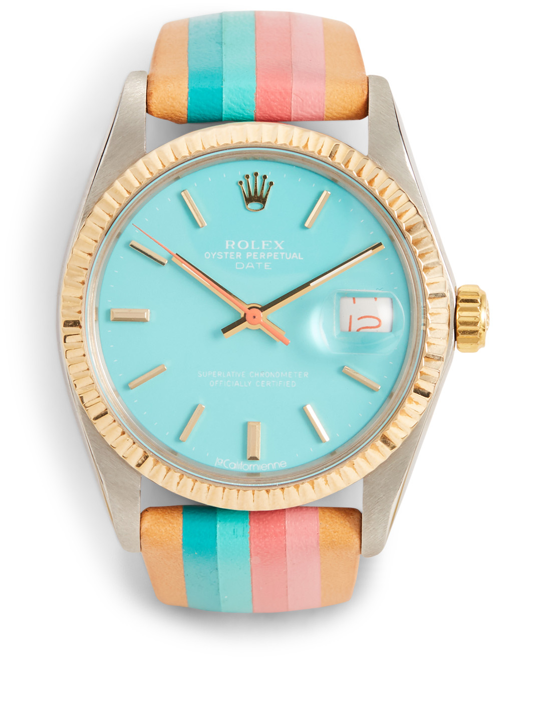 LA CALIFORNIENNE Rolex Oyster Perpetual Date Two-Tone Leather Strap Watch Women's Blue