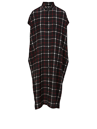 BALENCIAGA Silk Shirt Dress In Check Print Women's Black