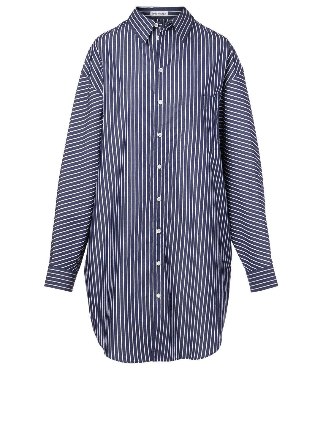 BALENCIAGA Cotton Shirt Dress In Stripe Print Women's Blue